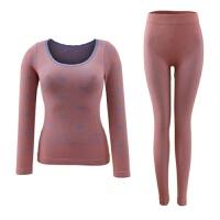 塑身美体女士保暖套装纯色蕾丝保暖内衣薄绒套装大码冬季 紫橙 S01 均码(80-140)斤