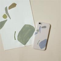 牧野手绘插画iPhone6/7/7p/8plus//XR硅胶8p苹果x手机壳 iPhone6/6s 软壳-灰粉色块
