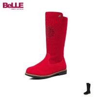 百丽Belle童鞋17冬季儿童皮靴加绒保暖长筒时装靴时尚休闲靴高筒靴 (9-13岁可选) DE0168