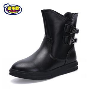 巴布豆童鞋 女童靴子2017冬靴女童中筒靴加绒保暖皮靴平底马丁靴