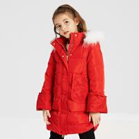 【2件2.5折叠券约:121.2,12日0点】米喜迪mecity童装女童红色中长款撞色大毛领连帽保暖羽绒服