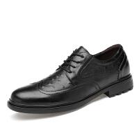 男士45加大号休闲真皮英伦布洛克鞋46雕花商务正装47特大码男皮鞋 黑色
