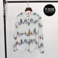 №【2019新款】冬天小姐姐穿的衬衫女长袖娃娃领衬衣雪纺打底碎花上衣