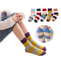{5双装}儿童袜子冬季婴儿袜女童男童1-3-5-7-10-12岁宝宝秋冬中筒袜xx 彩色条纹0129款