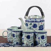 陶瓷茶壶大容量复古青花冷水壶套装家用大号提梁壶茶具