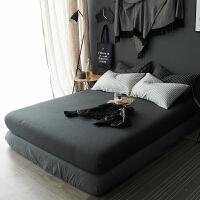 双人纯色针织棉素色单人床垫套床单单件