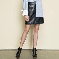 【2件2.5折叠券约:29.2,12日0点】美特斯邦威半身裙女新款潮流时尚都市百搭PU半裙