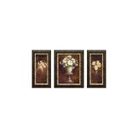 欧式客厅装饰画沙发背景墙玄关壁画餐厅挂画墙画三联画 富贵花开 左右45*90 中间70*90 特大边框+防水肌理