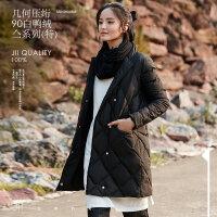 [AMII东方极简] JII[东方极简]2017冬装新女黑色立领羽绒服女中长款大码宽松90白鸭绒