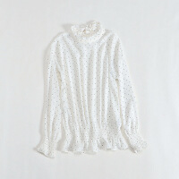 春款女长袖雪纺衫 立领喇叭袖系带套头上衣1D