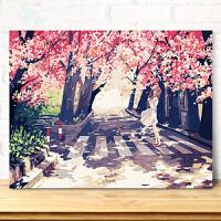 数字油画银光冰鹿风景花卉人物装饰字画棉布带框简约现代手绘油彩填色装饰画炫光鹿家装软饰