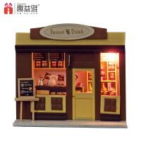 趣益雅DIY小屋 迷你�W洲店�咖啡屋手工模型玩具男女生 生日�Y物