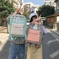 原宿简约防水帆布双肩包小清新女韩版学院风书包学生背包