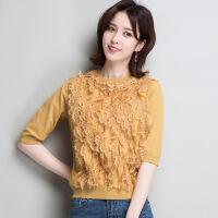 2018春季新款韩版纯色蕾丝短款女装T恤套头圆领五分袖拼接针织衫