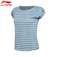 李宁短袖女子跑步系列圆领透气运动健身短袖T恤女款ATSM154