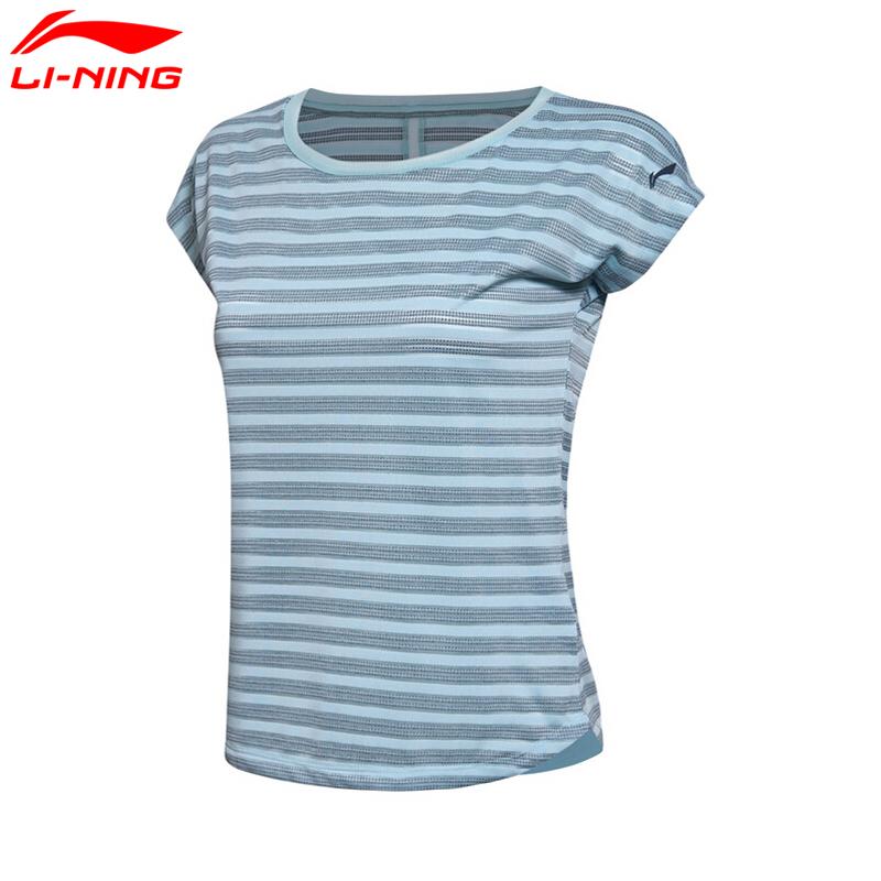 李宁短袖女子跑步系列圆领透气运动健身短袖T恤女款ATSM154 透气凉爽速干