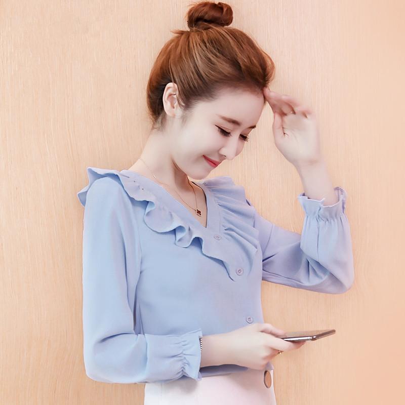 雪纺衫长袖衬衫秋装新款女装2018秋季韩版秋天上衣服百搭洋气
