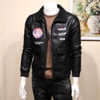 男士皮衣2018新款韩版修身青年加厚刺绣飞行员皮毛一体皮夹克外套 黑色