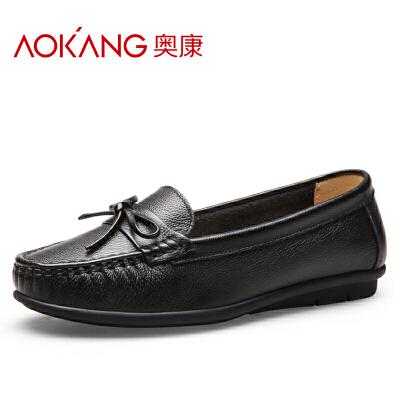 奥康女鞋真皮豆豆鞋浅口平底舒适休闲鞋护士鞋孕妇妈妈单鞋