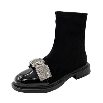 WARORWAR法国2019新品YG09-5222冬季韩版反绒粗跟鞋高跟鞋流苏女鞋潮流时尚潮鞋百搭潮牌靴子切尔西靴短靴