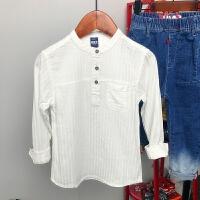 儿童无领白衬衫 中小男童春秋新品轻薄透气亨利衬衣休闲百搭款