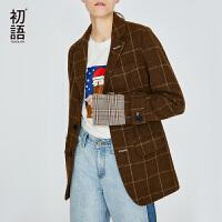 初语绵羊毛格子大衣女冬装新款韩版时髦格纹拼接毛呢西装外套