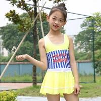 韩国儿童游泳衣女童中大童连体裙式海军风学生少女可爱条纹小孩装