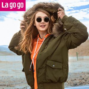 Lagogo/拉谷谷2017冬季新款直筒纯色连帽羽绒服