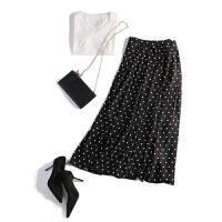 2018春夏新款大摆半身长裙带内衬雪纺半身裙 黑色