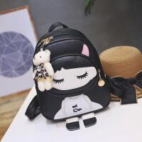 韩版儿童包包中大童小女孩书包公主时尚双肩包可爱旅行休闲背包潮 黑色 娃娃