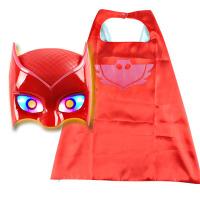 睡衣小英雄 儿童蒙面超人睡衣猫头鹰侠小英雄舞会面具道具衣服男女孩服装玩具