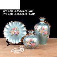客厅博古架玄关摆件家居酒柜装饰品欧式陶瓷花瓶三件套干花插花器 湖蓝色 花瓶三件套