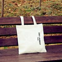 韩国帆布包女单肩手提简约小文艺清新字母学生书包购物袋s6 白色 竖AINT-白包