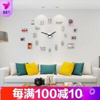 个性时尚数字挂表大气挂钟客厅时尚静音现代简约装饰石英时钟品质保证 +8个相框 20英寸以上