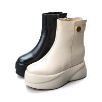 欧洲站2018秋冬新款时尚短靴真皮厚底松糕女鞋百搭裸靴高跟马丁靴