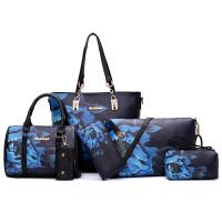 女包2017新款子母包六件套民族风青花瓷韩版印花单肩手提包斜挎包SN5263 黑色 黑色