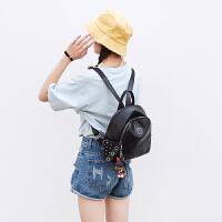 2018新款韩版真皮双肩包铆钉时尚休闲女包包黑色纯牛皮软皮小背包SN7960 黑色 铆钉(牛皮)小号