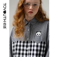 【春夏新品】初语2020春新款设计感拼接学院风宽松复古黑白格子长袖白衬衫女