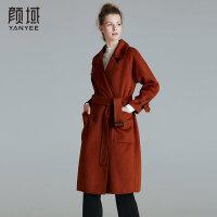 颜域品牌女装2017冬装新款纯色翻领绑带宽松双面呢大衣羊毛外套女