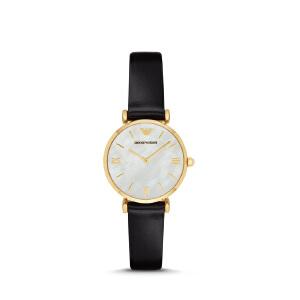 Armani阿玛尼黑色皮带女士女手表精巧时尚防水女款石英腕表AR1910