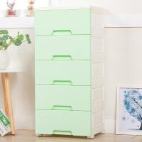 家居生活用品39cm宽加厚收纳柜子多层抽屉式储物整理夹缝柜儿童宝宝衣柜床头柜 5个 浅绿色 特加厚