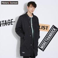 美特斯邦威反季风衣男chic韩版潮流春季户外长款可脱卸内里外套