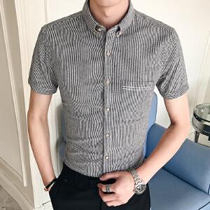 男装夏季新款韩版寸衫短袖衬衫男士条纹潮流百搭休闲衬衣10