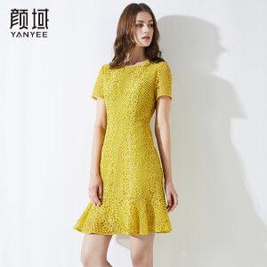 颜域新款荷叶边优雅显瘦连衣裙圆领蕾丝镂空纯色裙子2018品牌夏款