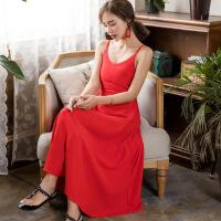 2018夏季新款名媛气质露背吊带雪纺连衣裙红色沙滩长裙