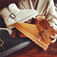 欧洲站新款真皮雪地靴加厚保暖短靴女士靴子棉鞋学生平底女鞋冬潮