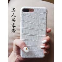周扬青同款iPhoneXSmax 7/8plus白色手机壳鳄鱼纹真皮苹果6保护套