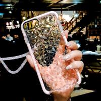 苹果6s手机壳新款iPhone7plus/8/x硅胶防摔透明软壳6个性挂绳潮女 iPhone X 水波纹粉色+水晶绳