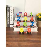 儿童木质组合数字小火车拼装 早教智力拖拉木制积木玩具车1-3-6岁