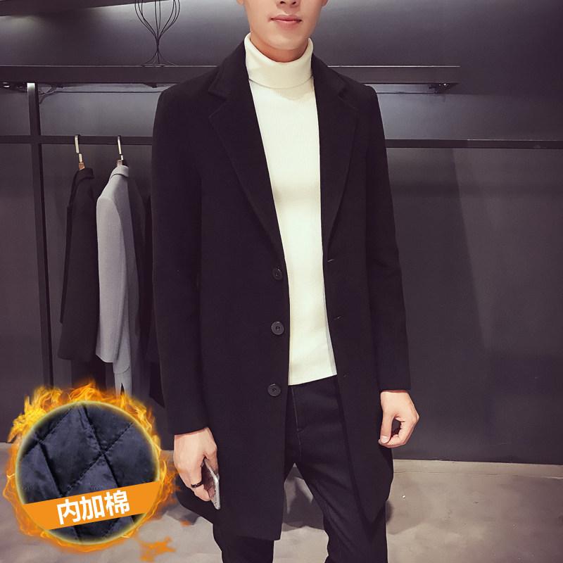 冬季韩版修身男士纯色中长款风衣学生百搭毛呢大衣英伦呢子外套潮